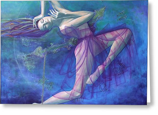 Reverie Paintings Greeting Cards - Back in time Greeting Card by Dorina  Costras