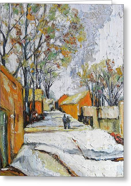 Town Mixed Media Greeting Cards - Back Lane Walk-Winnipeg Greeting Card by Debora Cardaci