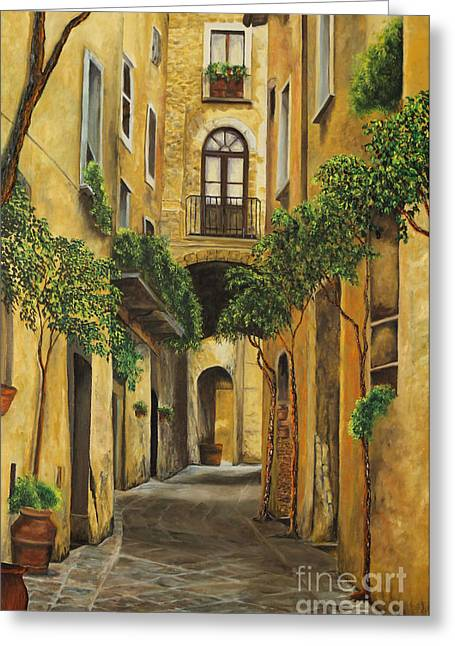 Italian Street Greeting Cards - Back Street in Italy Greeting Card by Charlotte Blanchard