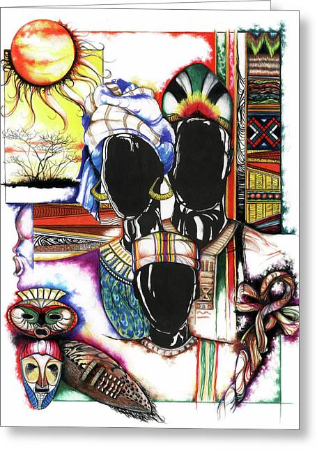 African-american Artist Drawings Greeting Cards - Back to Basic Greeting Card by Anthony Burks Sr