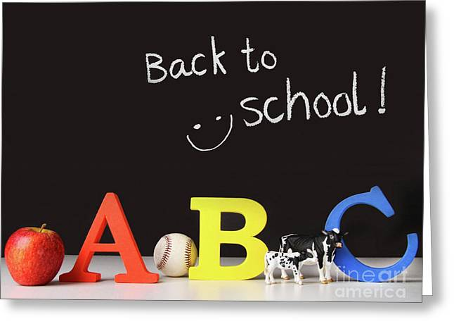 Lessons Greeting Cards - Back to school concept with abc letters Greeting Card by Sandra Cunningham