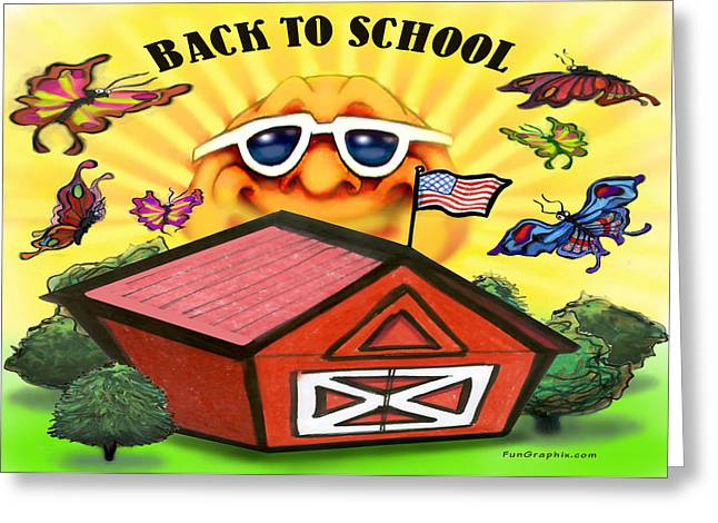 Funny Greeting Cards - Back to School Greeting Card by Kevin Middleton