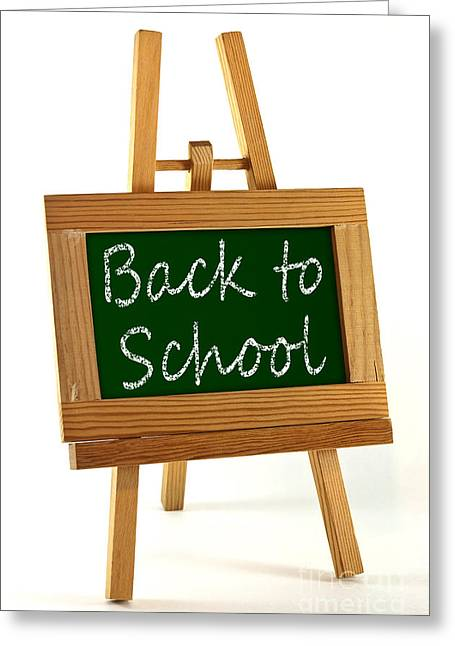 Announcement Greeting Cards - Back to School sign Greeting Card by Blink Images