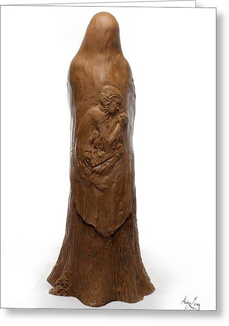 Stronger Sculptures Greeting Cards - Back view of Saint Rose Philippine Duchesne sculpture Greeting Card by Adam Long