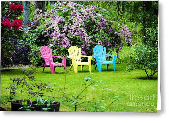 Lawn Chair Greeting Cards - Back Yard Tranquility Greeting Card by Jim  Calarese