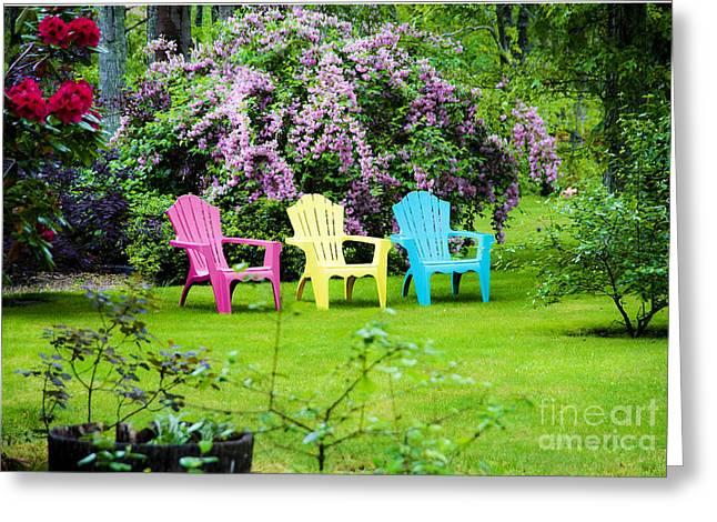 Back Yard Tranquility Greeting Card by Jim  Calarese