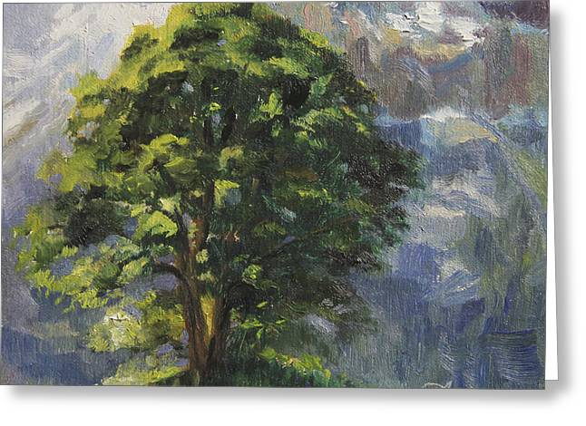 Swiss Greeting Cards - Backdrop of Grandeur Plein Air Study Greeting Card by Anna Bain