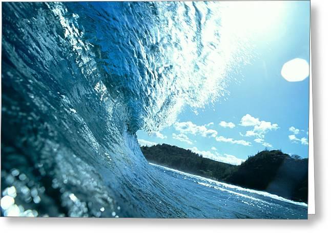 Ocean Art Photos Greeting Cards - Backlit Blue Wave Greeting Card by Erik Aeder - Printscapes