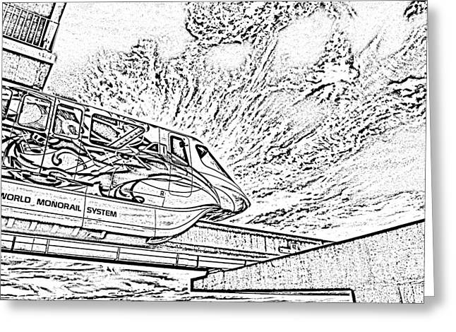 Photocopy Greeting Cards - Backlit Disney World Monorail Leaving Contemporary Resort Walt Disney World Prints BandW Photocopy Greeting Card by Shawn O