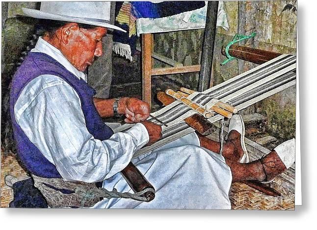 Loom Digital Art Greeting Cards - Backstrap loom - Ecuador Greeting Card by Julia Springer
