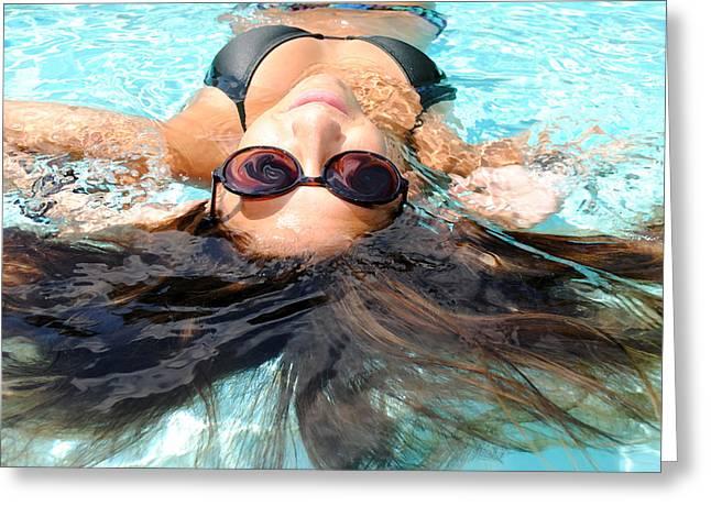 Floating Girl Greeting Cards - Backstroke II  Greeting Card by Leah Silberman