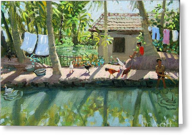 River Paintings Greeting Cards - Backwaters India  Greeting Card by Andrew Macara