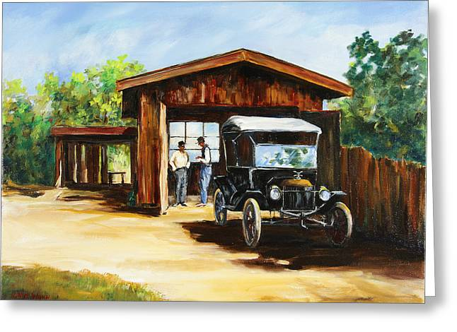 Best Sellers -  - Ford Model T Car Greeting Cards - Backyard Mechanics Greeting Card by Gary Wynn