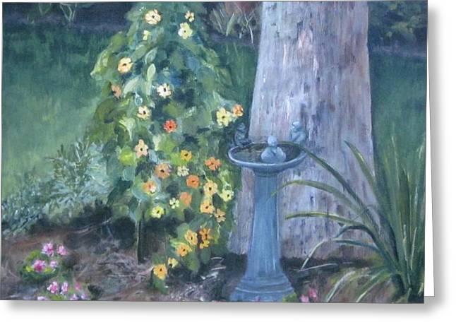 backyard Greeting Card by Paula Pagliughi