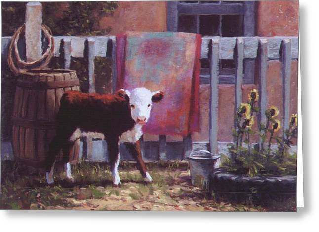 Barrel Pastels Greeting Cards - Backyard Rodeo Greeting Card by Brian Freeman
