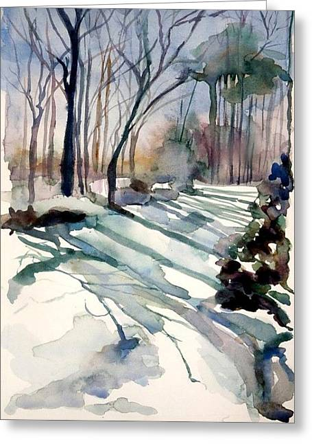 Backyard Snow Greeting Card by Judith Scull