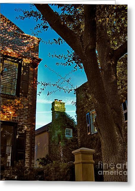 Charleston Greeting Cards - Backyard View Charleston SC Greeting Card by Susanne Van Hulst