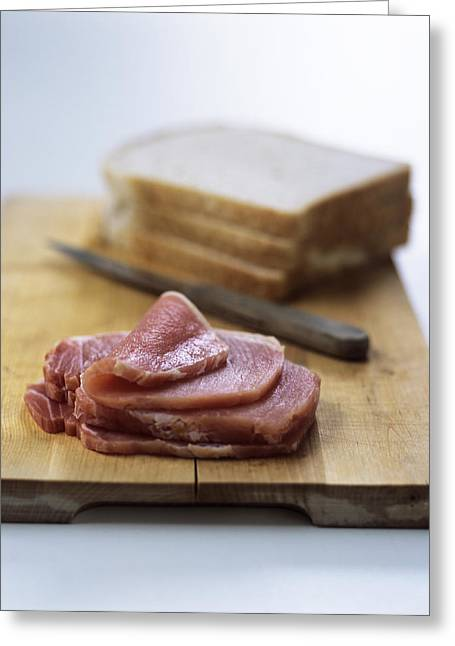 Red Meat Greeting Cards - Bacon Sandwich Preparation Greeting Card by Veronique Leplat