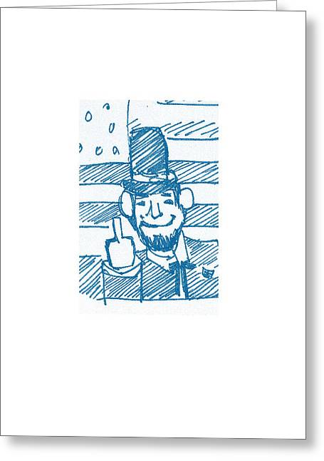 Republican Drawings Greeting Cards - Bad Abe Greeting Card by Samuel Zylstra