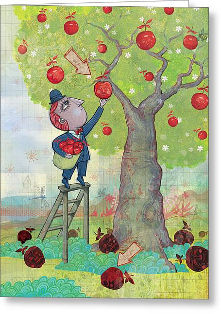Dennis Wunsch Greeting Cards - Bad apples good apples Greeting Card by Dennis Wunsch