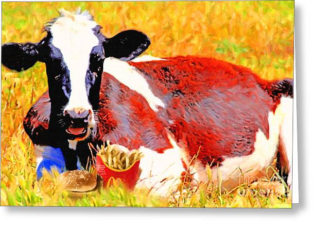 Junk Digital Greeting Cards - Bad Cow . 7D1279 Greeting Card by Wingsdomain Art and Photography