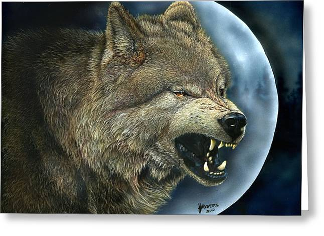 Growling Greeting Cards - Bad Moon Greeting Card by Judi Roberts