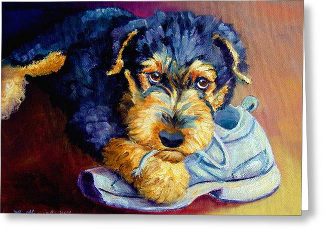 Airedale Terrier Greeting Cards - Bad Puppy Airedale Terrier Greeting Card by Lyn Cook
