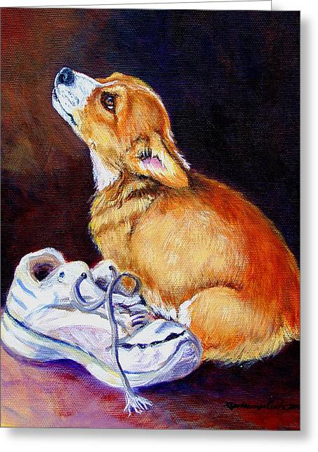 Bad Puppy Pembroke Welsh Corgi Greeting Card by Lyn Cook