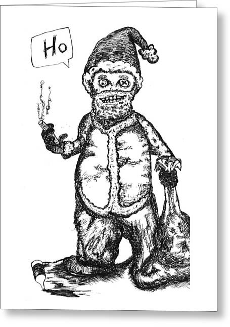 Best Sellers -  - Bad Drawing Greeting Cards - Bad Santa Greeting Card by Michael Mooney