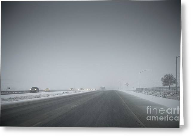 Sleet Greeting Cards - Bad Weather on Freeway Greeting Card by Dave & Les Jacobs