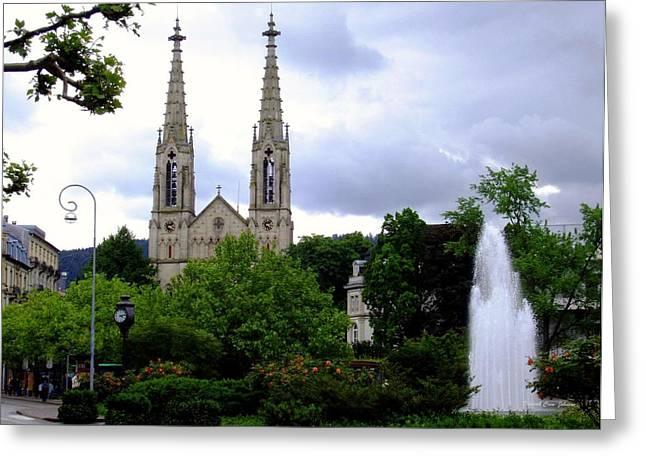 Recently Sold -  - Garden Statuary Greeting Cards - Baden - Baden Greeting Card by Deborah  Crew-Johnson
