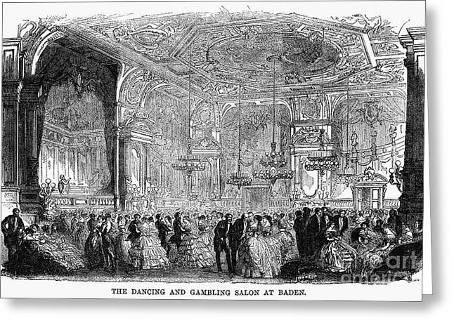 Baden-baden Greeting Cards - Baden-baden: Salon, 1858 Greeting Card by Granger