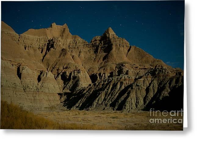 Badlands Moonlight Greeting Card by Chris  Brewington Photography LLC