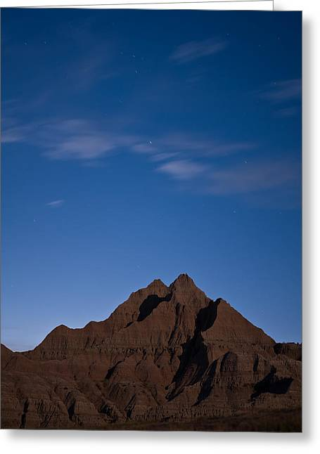 Silhouettes Greeting Cards - Badlands Night Greeting Card by Steve Gadomski