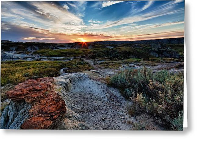 Dinosaur Provincial Park Greeting Cards - Badlands Setting Greeting Card by David Buhler