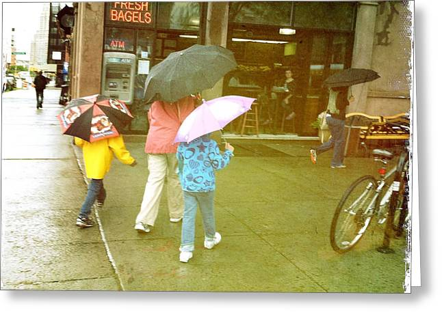 Bagel Shops Greeting Cards - Bagels and umbrellas Greeting Card by Frank Winters