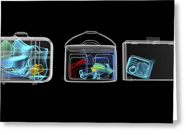 Terrorist Greeting Cards - Baggage Surveillance, Simulated X-ray Greeting Card by Christian Darkin