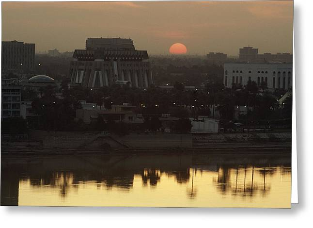 Tigris Greeting Cards - Baghdad And The Tigris River At Sunset Greeting Card by Lynn Abercrombie