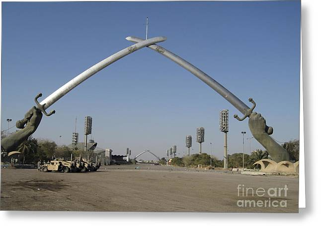 Hussein Greeting Cards - Baghdad, Iraq - Hands Of Victory Greeting Card by Terry Moore