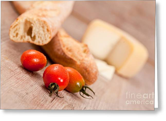 Italian Meal Greeting Cards - Baguette and tomatoes Greeting Card by Sabino Parente