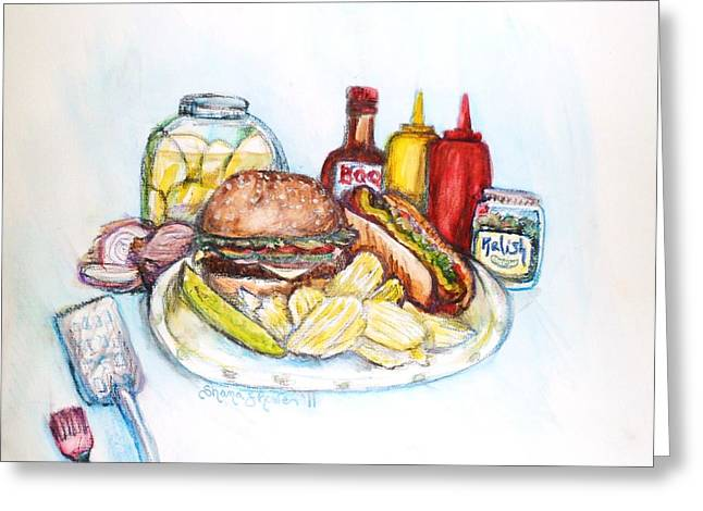Cheeseburger Paintings Greeting Cards - Bah B Q Greeting Card by Shana Rowe