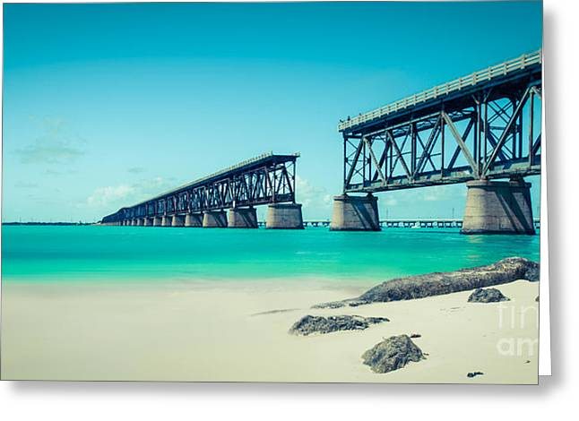 Turquois Greeting Cards - Bahia Hondas Railroad Bridge  Greeting Card by Hannes Cmarits