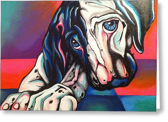 Harlequin Great Dane Puppies Greeting Cards - Bailey Greeting Card by Amy Thompson