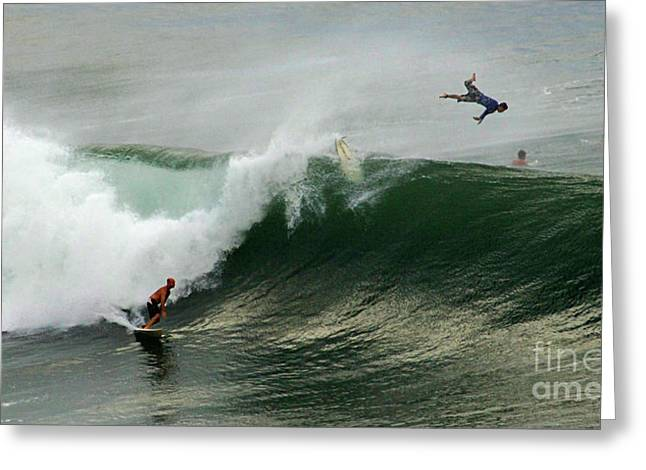 Wind Surfer Greeting Cards - Bailing Greeting Card by Bob Christopher