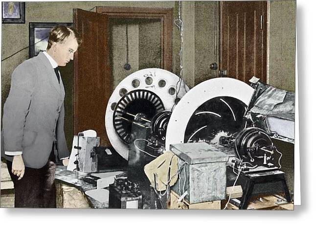 Cardboard Greeting Cards - Baird Inventing His Television, 1920s Greeting Card by Sheila Terry