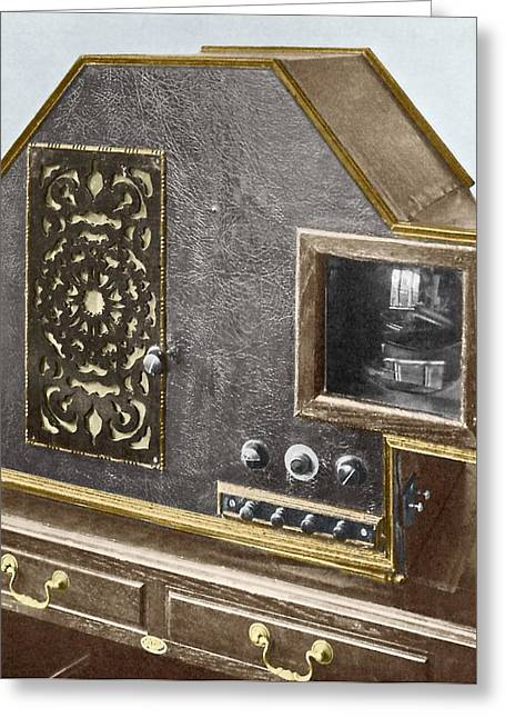 Tv Commercial Greeting Cards - Baird Televisor, Early Television Set Greeting Card by Sheila Terry