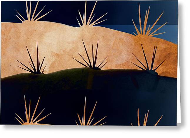 Black Gold Greeting Cards - Baja Landscape Number 1 Square Greeting Card by Carol Leigh