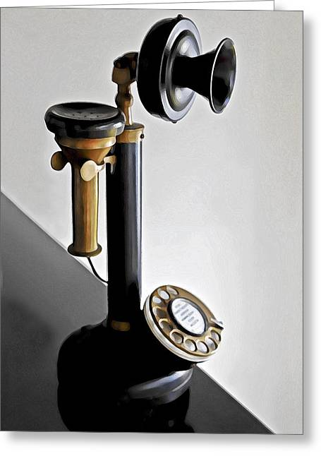 Antique Straight Pattern Greeting Cards - Bakelite Candlestick Analogue Telephone Greeting Card by Kantilal Patel