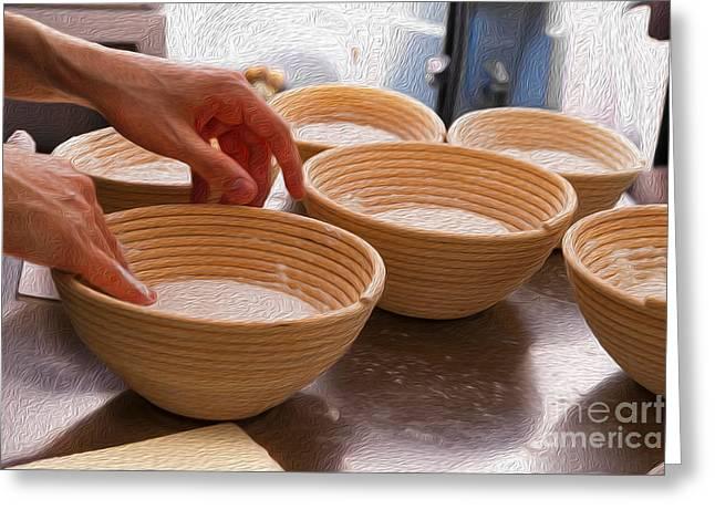 Wooden Bowls Digital Art Greeting Cards - Baker Hands and Wooden Bowls Greeting Card by Jorge Malo