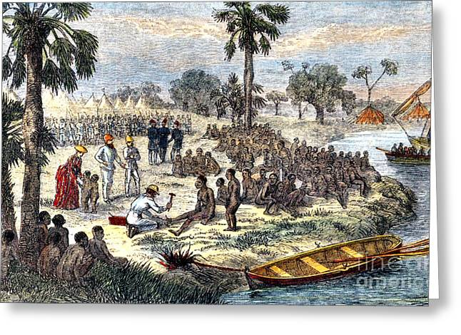 Anti Slave Trade Greeting Cards - Baker Liberating Slaves In Africa, 1869 Greeting Card by Photo Researchers